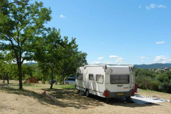 Caravan in small campsite with view on the Cevennes