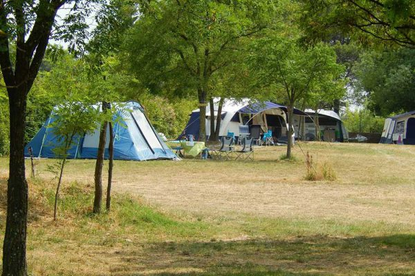 Tents in farm campsite in Cevennes France