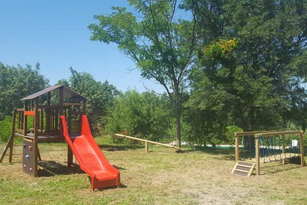 Children playground at farm campsite in Cevennes