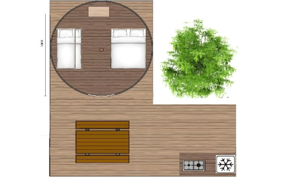 plan tente tipi terrasse 1024x666 - Tente ecolodge France | Tente tipi | Glamping Cevennes