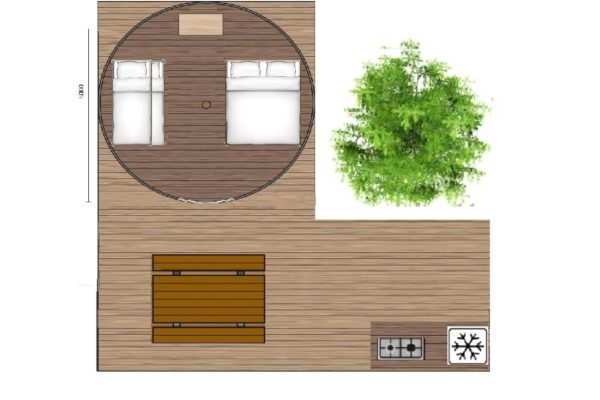 plan tente tipi terrasse 600x400 - Tente ecolodge France | Tente tipi | Glamping Cevennes